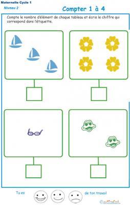 Imprimer l'exercice 1 pour apprendre à compter maternelle niveau 2
