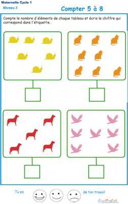 Imprimer l'exercice 4 pour apprendre à compter maternelle niveau 3