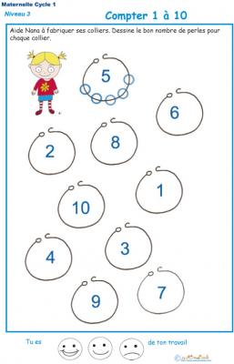 Imprimer l'Exercice 1 pour compter les perles du collier maternelle niveau 3