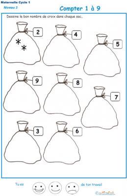 Exercice 3 dessine le nombre de croix indiqué sur l'étiquette GS maternelle
