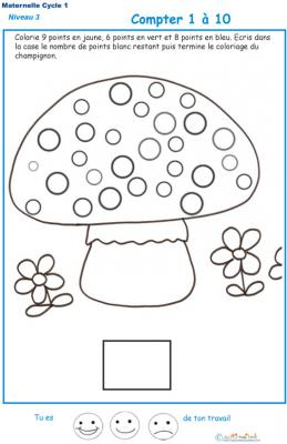 Imprimer la fiche pour compter les points d'un champignon Exercice 1 maternelle niveau 3