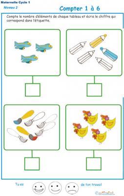 Imprimer l' Exercice 7 de l'ardoise pour apprendre à compter les avions, crayons, pinceaux, poussins