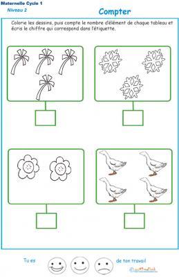 Imprimer l'exercice 3 pour apprendre à compter maternelle niveau 2