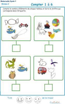 Imprimer l' Exercice 10 de l'ardoise pour apprendre à compter les objets divers