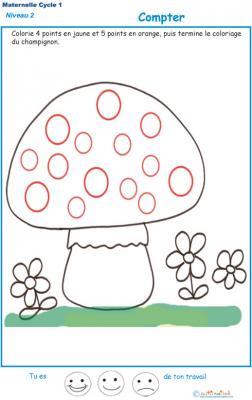 Exercice 1 pour compter et colorier le bon points sur le champignon 1