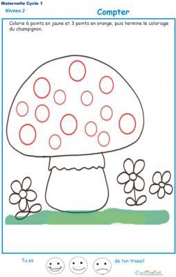 Exercice 5 pour compter et colorier le bon points sur le champignon 1