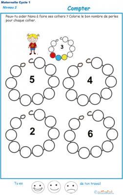 Exercice 1 pour compter et colorier les perles du collier de Nana
