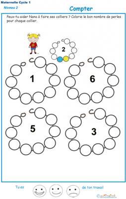 Exercice 4 pour compter et colorier les perles du collier de Nana