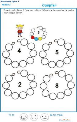 Exercice 5 pour compter et colorier les perles du collier de Nana