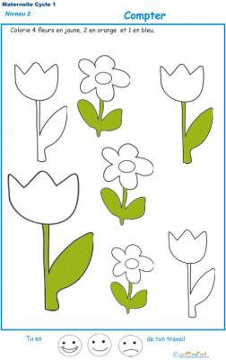 Exercice 5 pour colorier le nombre de fleurs indiqué par la consigne