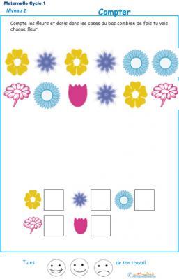 Imprimer l'exercice 5 pour apprendre à compter maternelle niveau 2
