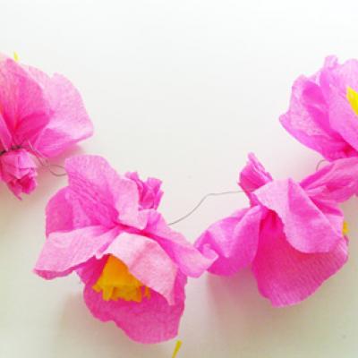 Fleurs En Papier Crépon Rose Tête à Modeler