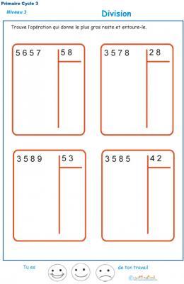 Exercices De Divisions A 2 Chiffres Au Cm1 Et Cm2 Fiche 3 Divisions Tete A Modeler