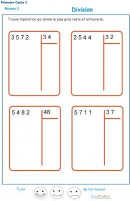 Divisions à deux chiffres - division euclidienne exercice 5