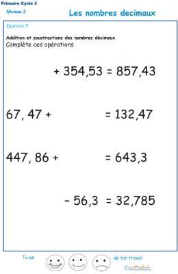 Additions et soustractions de nombres décimaux exercice 7 CM1 - CM2