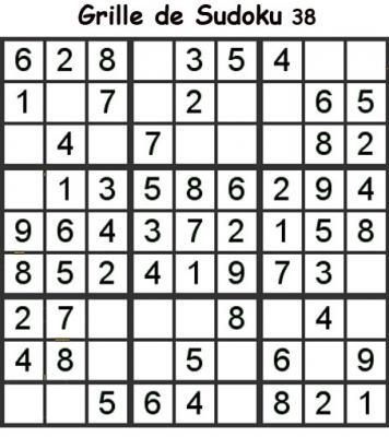 Grille de sudoku 38 pour enfants du primaire niveau 3