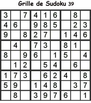 Grille de sudoku 39 pour enfants du primaire niveau 3