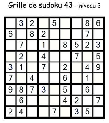 Grille de sudoku 43 pour enfants du primaire niveau 3