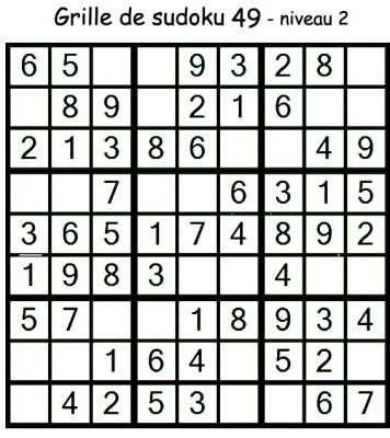 Grille de sudoku 49 pour enfants du primaire niveau 3