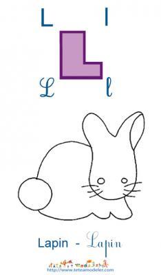 Apprendre le L et colorier le lapin