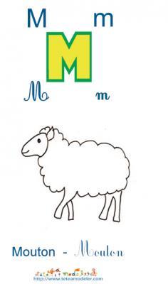 Apprendre le M et colorier le mouton