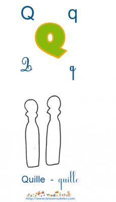 Apprendre le Q et colorier les quilles