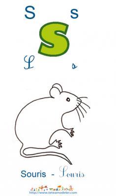 Apprendre le S et colorier la souris