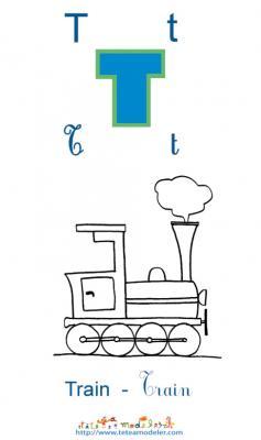 Apprendre le T et colorier le train