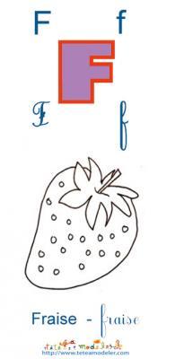 Apprendre le F et colorier la Fraise