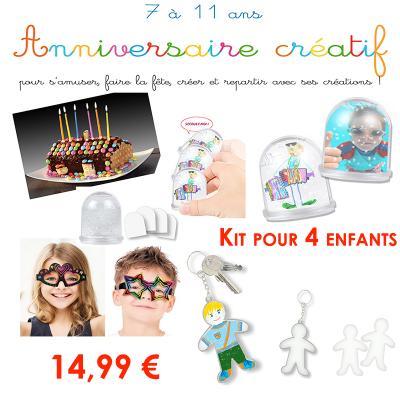 Kit anniversaire créatif pour 4 enfants de 7 à 11 ans