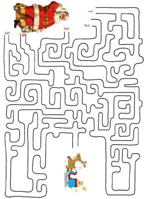 Jeu de labyrinthe pour jouer avec le Père Noël et l'aider le Père Noël à traverser le labyrinthe et à retrouver son traîneau.
