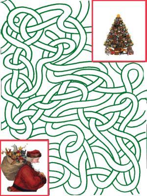 Jeu de labyrinthe, il faut aider le Père Noël à trouver le chemin du sapin à travers le labyrinthe