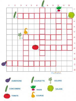 Grille de mots croisés sur les légumes grille 2
