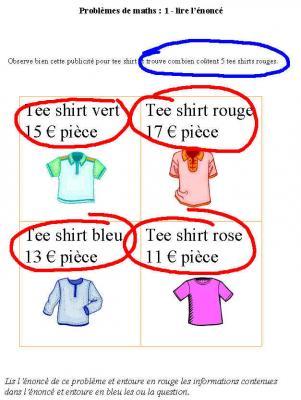 Problème de maths sur les tee shirts