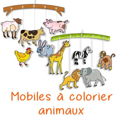 Mobile des animaux à colorier