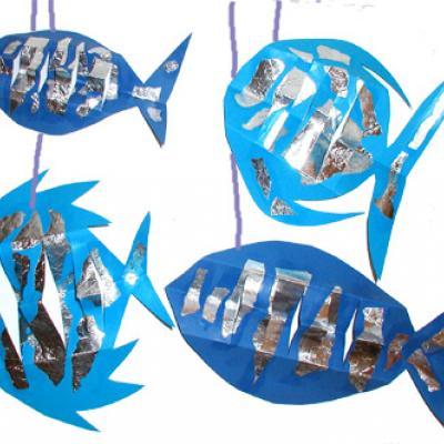 Fabriquer un mobile poissons bleus