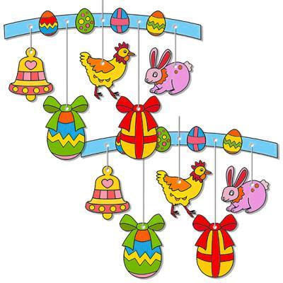 Mobile de Pâques à colorier