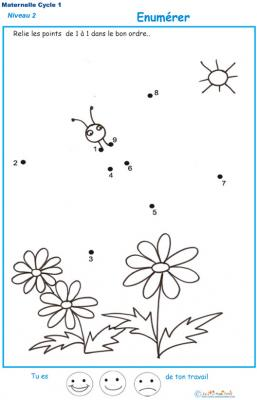 Dessin &agrave&#x3B; points pour num&eacute&#x3B;rer les chiffres dans l'ordre de 1 &agrave&#x3B; 10 Exercice 4