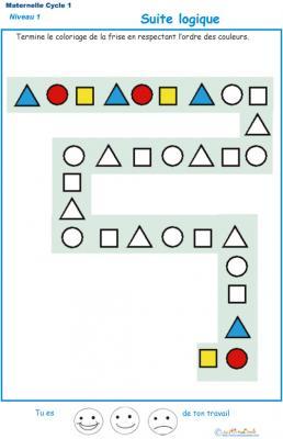 Exercice 1 : suite logique de couleur pour la petite ...