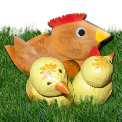 Famille poule et poussin en pâte à sel - modelage poussins et poule