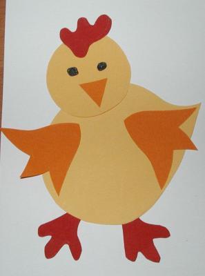 Illustration d'un poussin de Pâques réalisé par un enfant