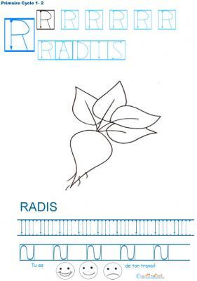 Exercice d'écriture et de graphisme : R et RADIS