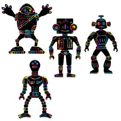 Carte à gratter silhouettes robots
