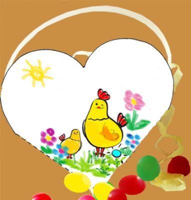Panier coeur à oeufs de Pâques à colorier