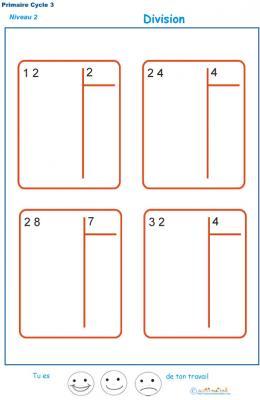 divisions sans reste  basées sur les tables de multiplication exercice4