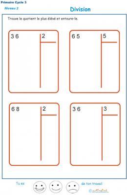 divisions sans reste  basées sur les tables de multiplication exercice 7