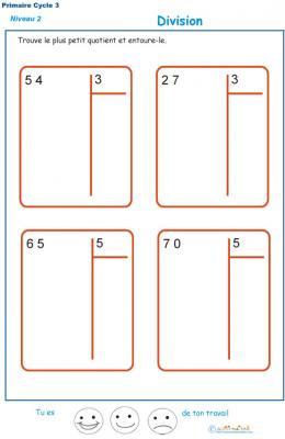 divisions sans reste  basées sur les tables de multiplication exercice 8