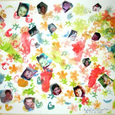 Réaliser un montage de photos décore au tampon de pomme de terre
