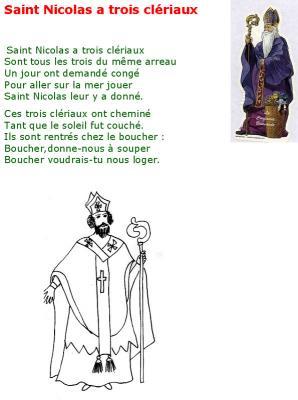 """Paroles illustrées de la chanson """"Saint Nicolas a trois clériaux"""", une chanson traditionnelle qui raconte l'une des nombreuses légendes de la saint Nicolas. Le texte est à compléter par le c"""