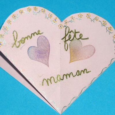 Carte réalisée avec un tampon coeur
